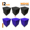 Wedge Acoustic Foam Panel, (Black + Purple), Set of 54 pcs