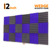 Wedge Acoustic Foam Panel, (Black + Purple), Set of 18 pcs