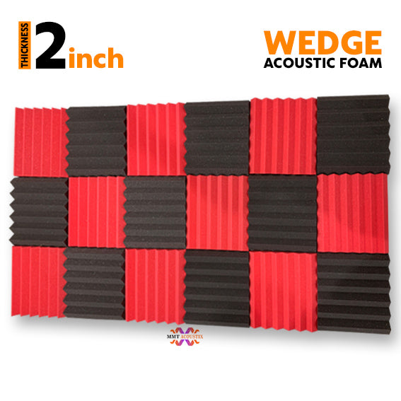 Wedge Acoustic Foam Panel, (Black + Red), Set of 18 pcs