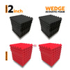 Wedge Acoustic Foam Panel, (Black + Red), Set of 36 pcs