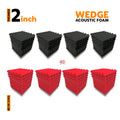 Wedge Acoustic Foam Panel, (Black + Red), Set of 72 pcs