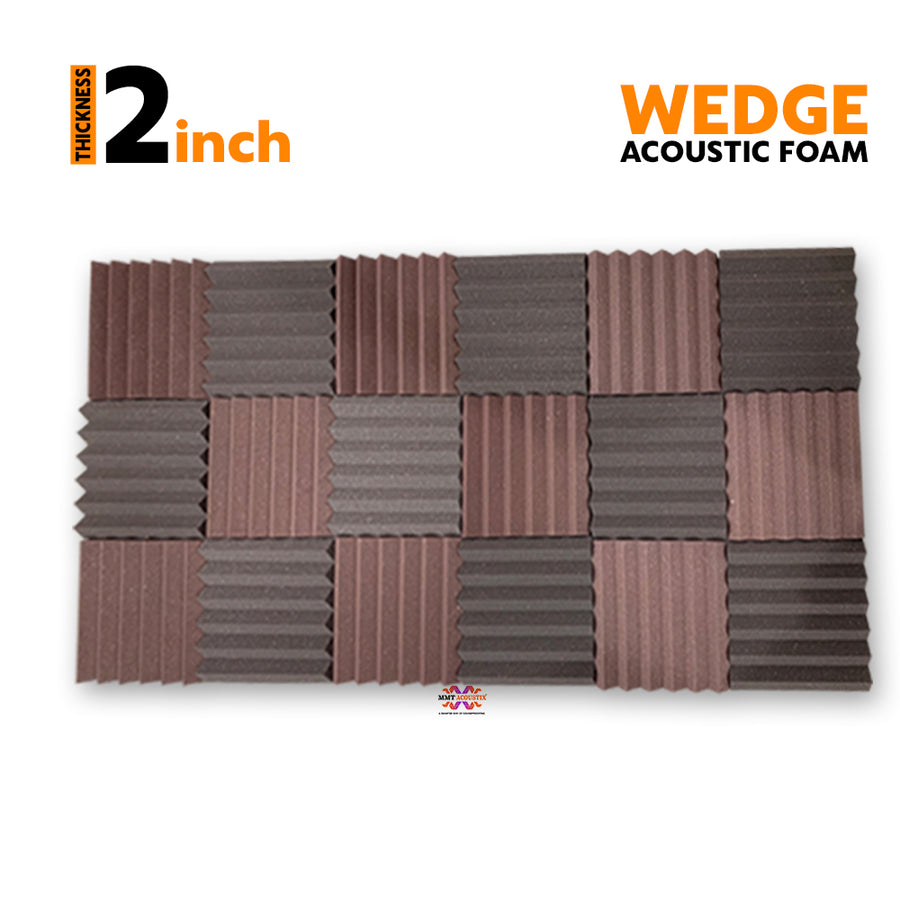 Wedge Acoustic Foam Panel, (Black + Wine), Set of 18 pcs