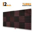 Turbo Acoustic Foam Panel, (Black + Wine), Set of 18 pcs