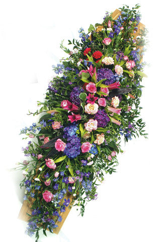 Pink & Blue Double Ended Coffin Spray