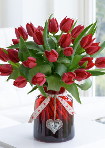 Valentine's Red Tulips in Box with Prosecco