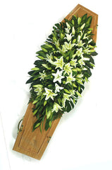 White Lilly Double Ended Coffin Spray