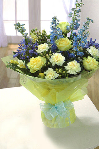 Soft Yellow & Blue Hand-Tied