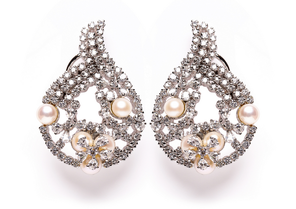 cultured pearl and simulated diamond silver bridal earrings