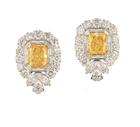 Rhea Swarovski Element Simulated Diamond & Citrine Gemstone Stud Earrings, Studs - Ratnalij_jewels