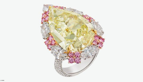 Simulated diamond & citrine colour gem stone cocktail ring, Rings - Ratnali Jewels