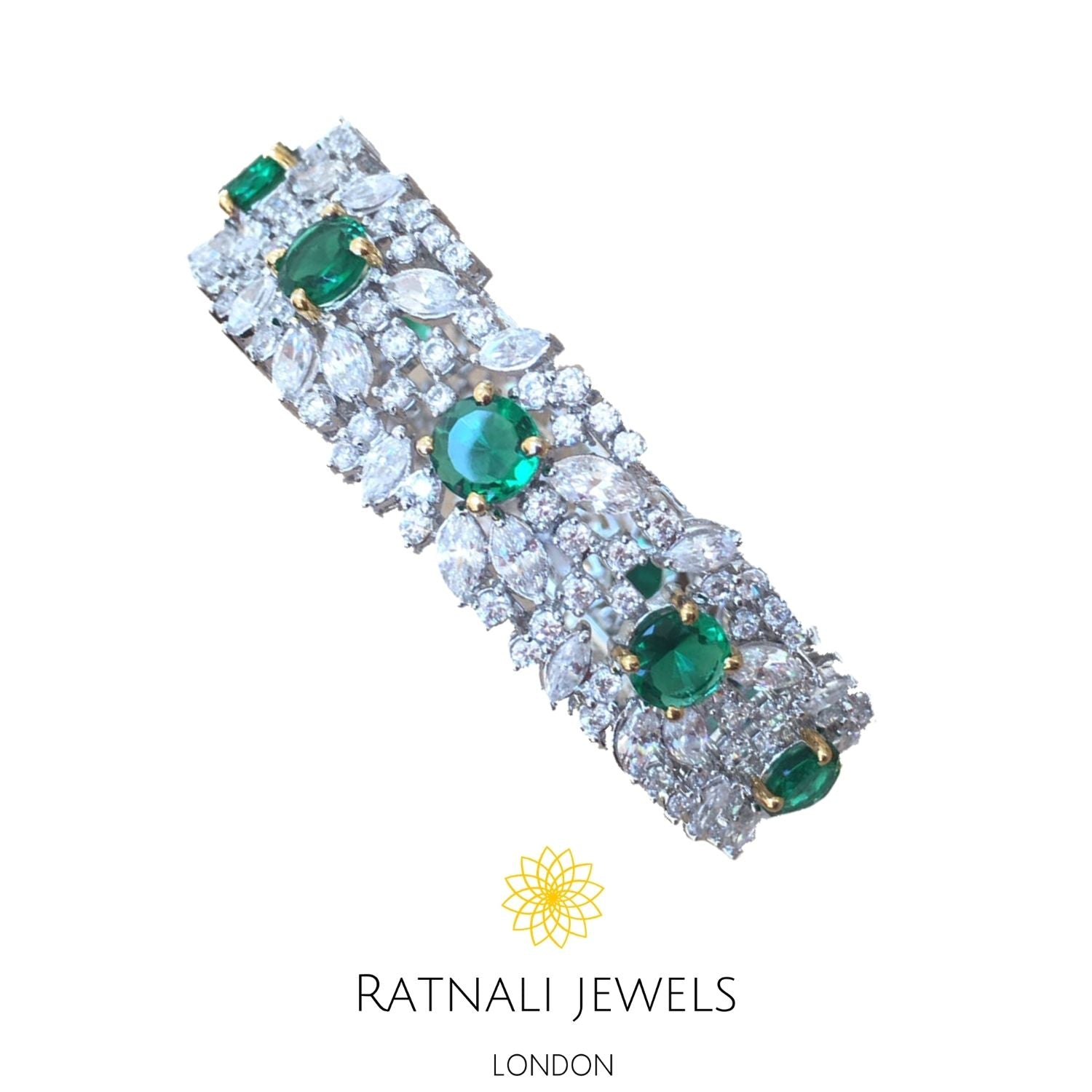 Simulated Diamond and Emerald green Gemstone Bracelet