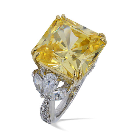 Simulated diamond & citrine gem stone Ring, Rings - Ratnali Jewels
