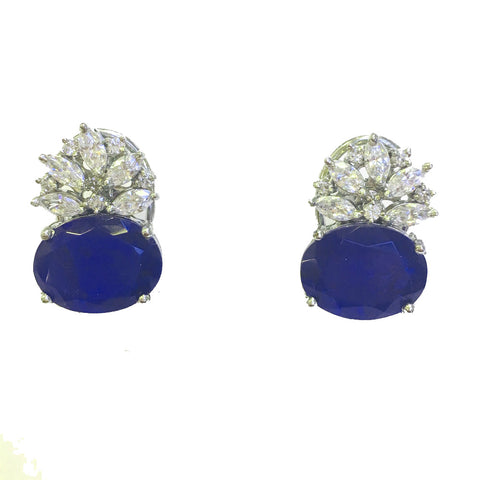 Blue Sapphire & diamond high grade cubic zirconia silver stud earrings