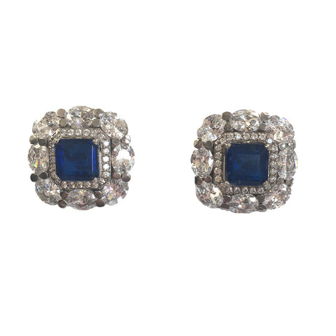 Sapphire & diamond high grade cubic zirconia silver stud earrings