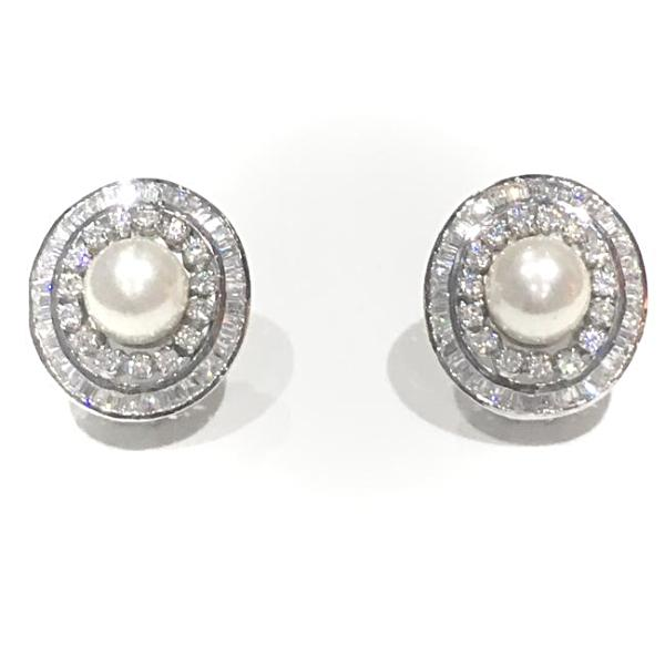 Purnima Diamond & Pearl stud earrings, Studs - Ratnali Jewels