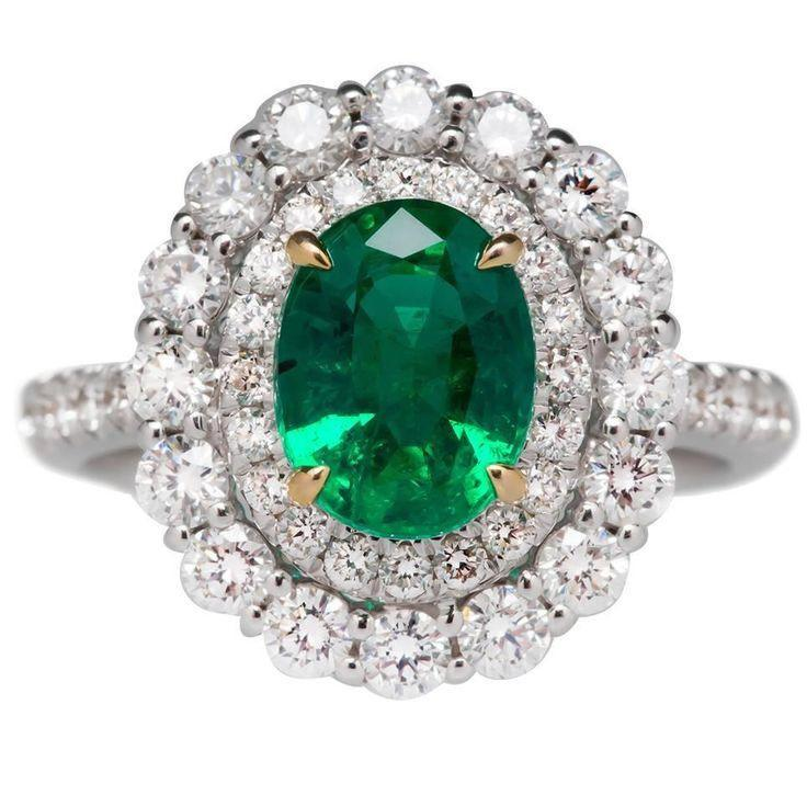 Simulated diamond & emerald colour gem stone Ring, Rings - Ratnalij_jewels