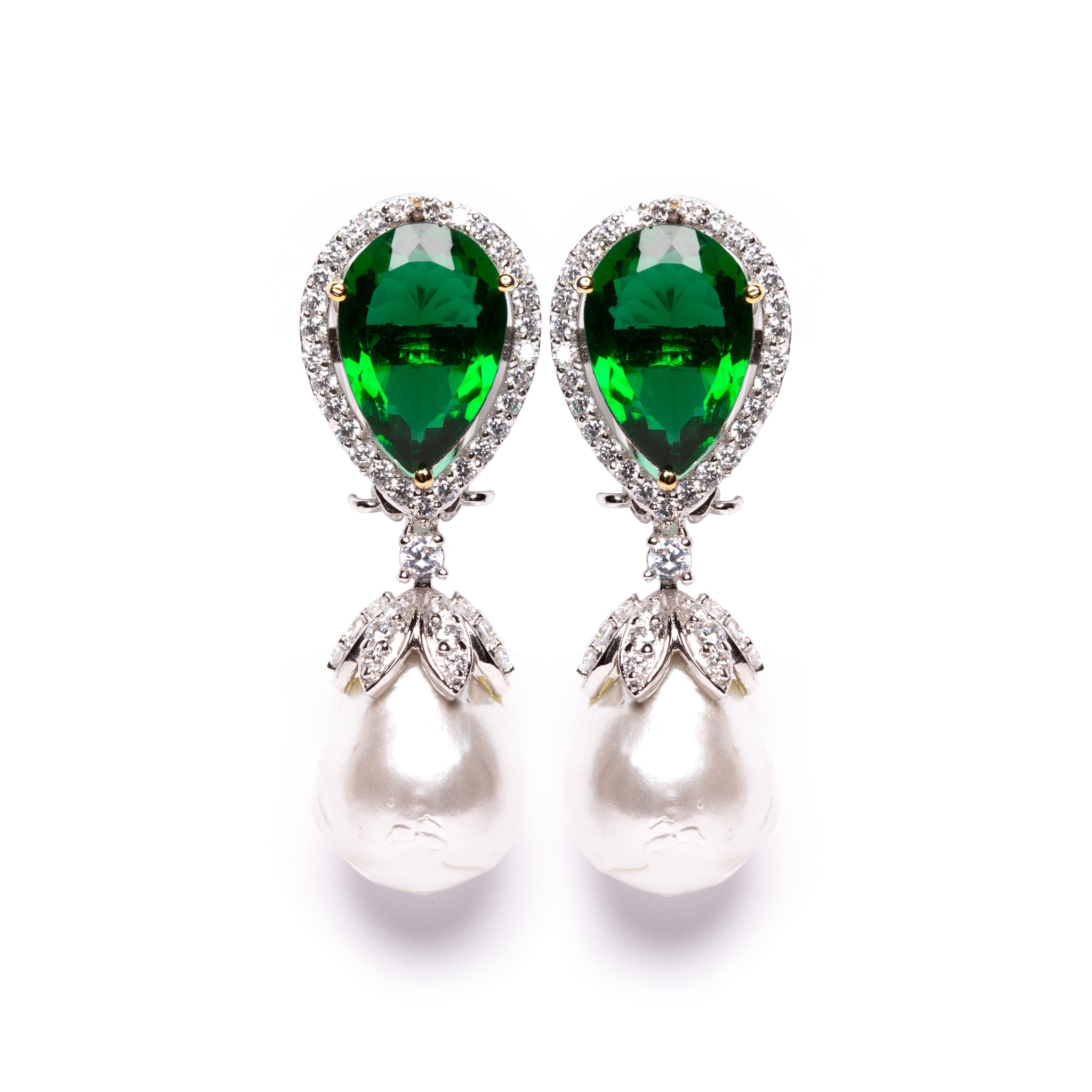 Emerald pearl drop earrings