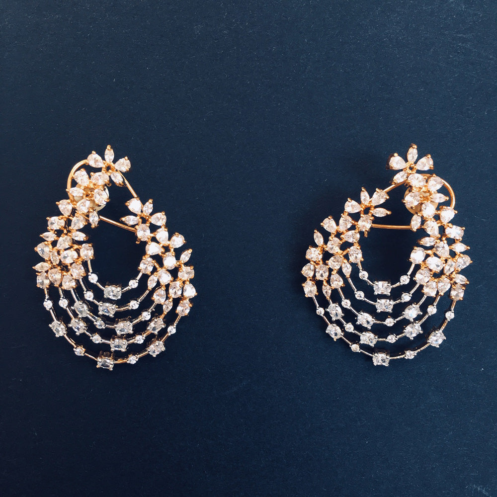 designer inspired gold and silver plated high end cubic zirconia diamond earrings