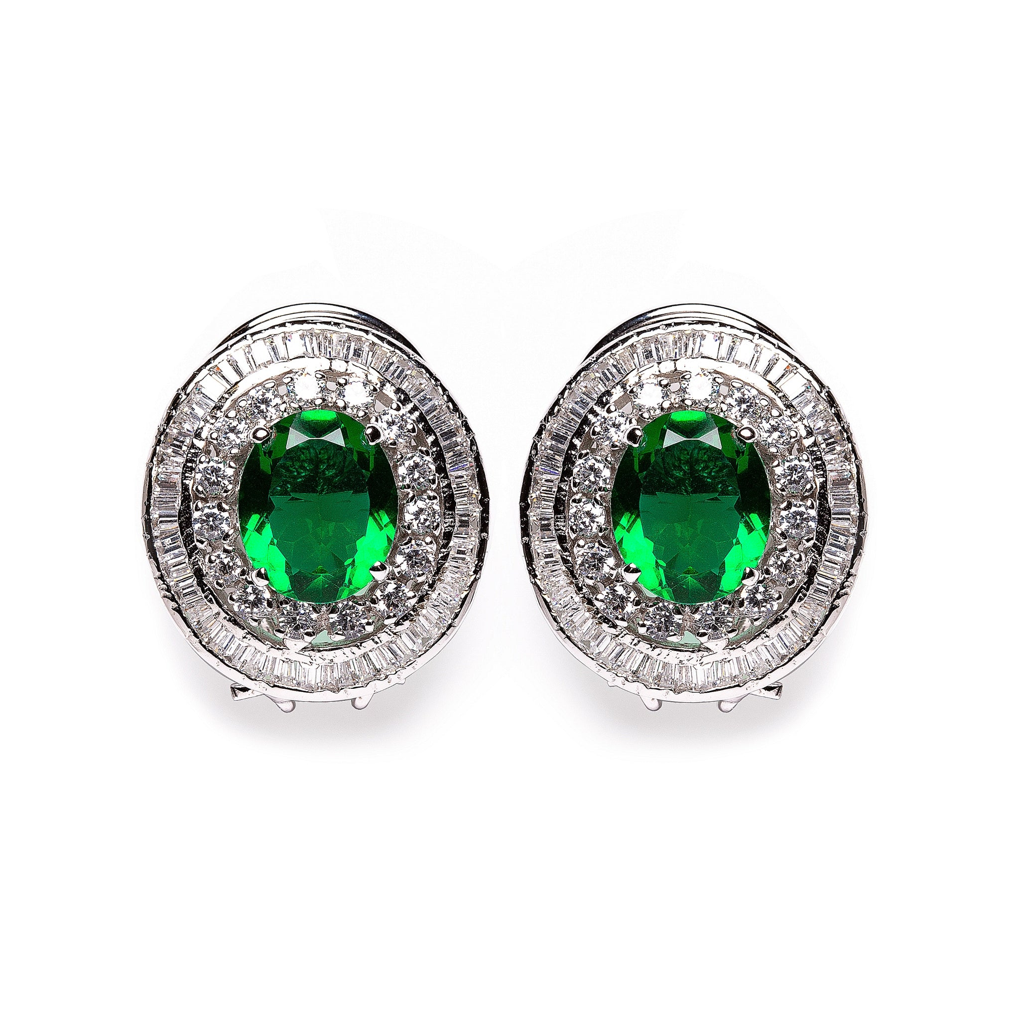 Green emerald and diamond studs
