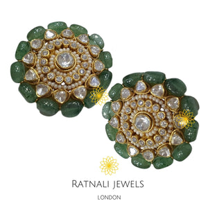 Jaipur | Moissanite Polki Kundan Jadau stud Earrings necklace set