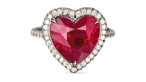 Heart shaped lab ruby & simulated diamond ring., Rings - Ratnali Jewels
