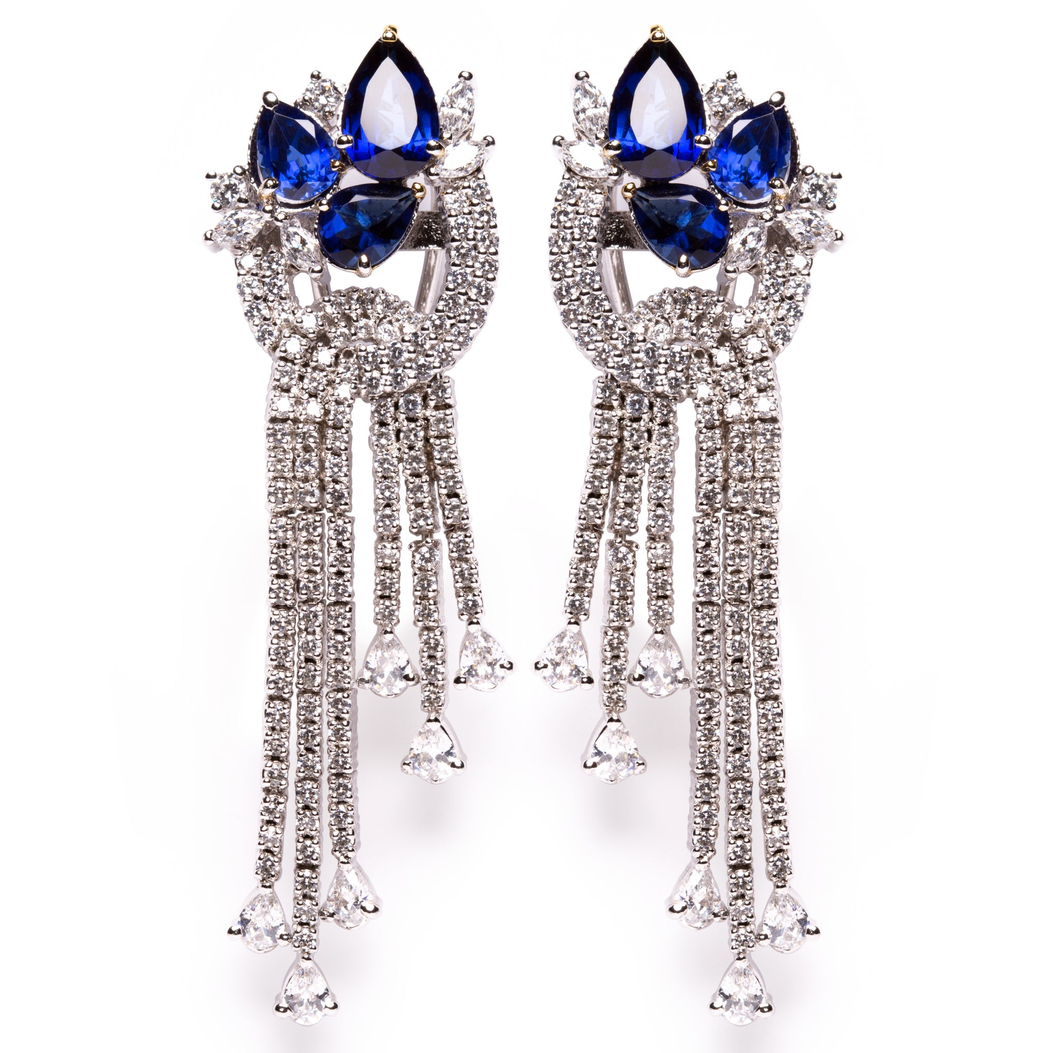 Sapphire & diamond high grade cubic zirconia silver chandelier earrings