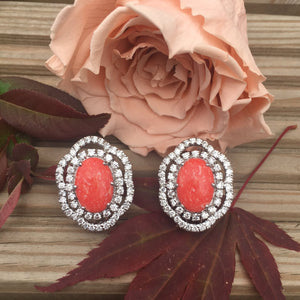 Simulated diamond & Coral opal stud earrings, Studs - Ratnali Jewels