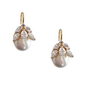 Lulit | Diamond and Pearl dangler Earrings