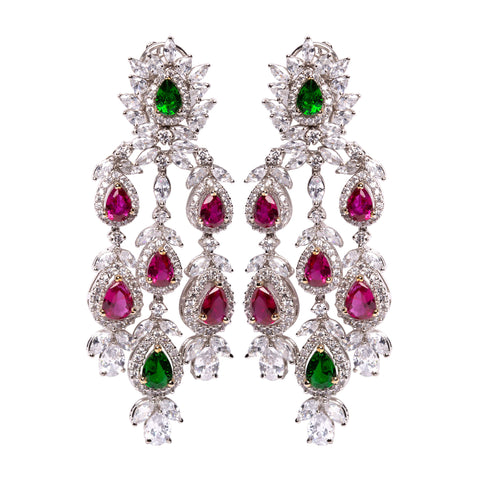 Regal | Ruby and Emerald Chandelier Earrings
