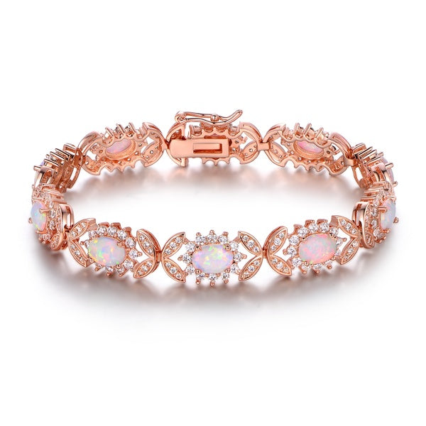 Rose gold plated diamond and opal tennis bracelet