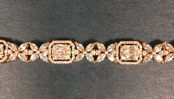 Rose gold plated cubic zirconia tennis bracelet