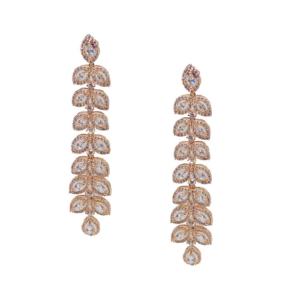 Dazzle | Rose gold plated simulated diamond long danglers