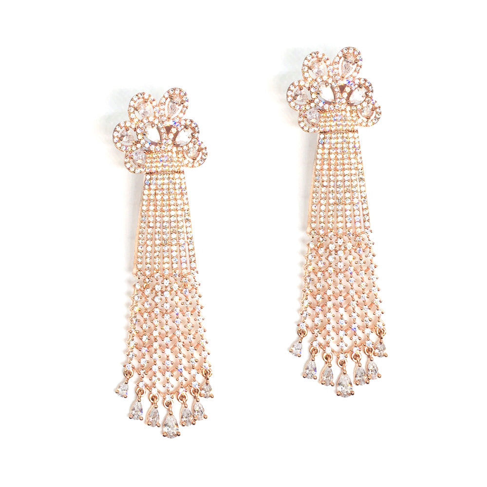 Rose gold plated high end cubic zirconia diamond danglers