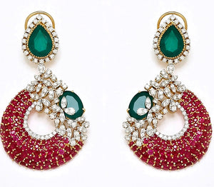 Simulated diamond & gem stone chandelier earrings, Earrings - Ratnali Jewels