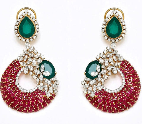Simulated diamond & gem stone chandelier earrings, Earrings - Ratnalij_jewels