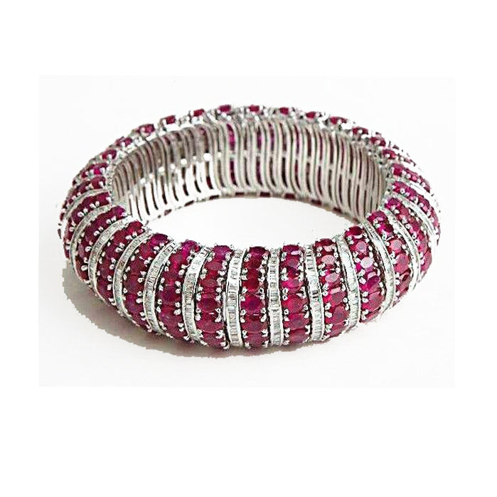 Simulated CZ diamond & ruby gemstone bracelet., Bracelet - Ratnali Jewels