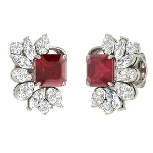 Keya Simulated Diamond & Ruby Cluster Stud Earrings, Studs - Ratnalij_jewels