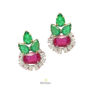 Ruby Diamond emerald stud earrings