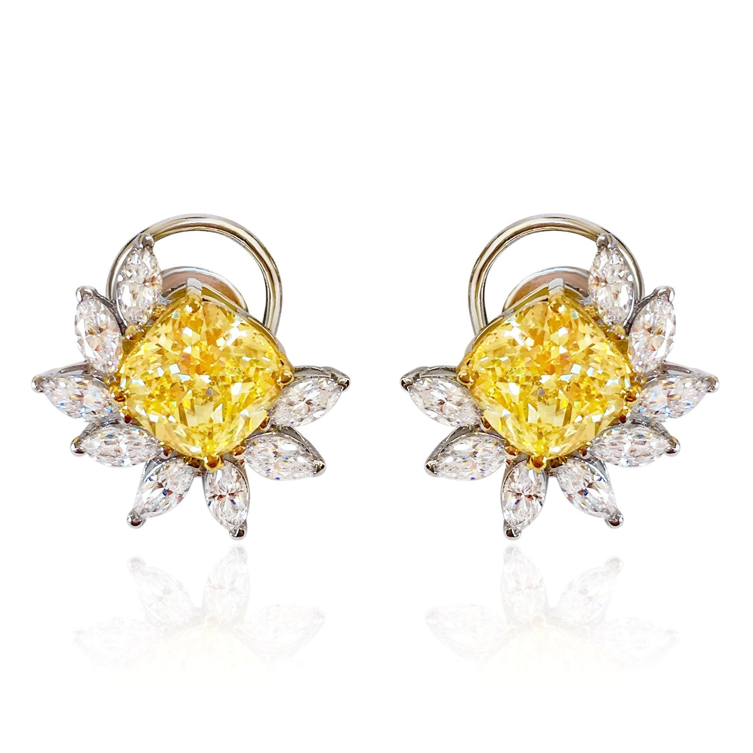 simulated citrine yellow diamond silver stud earrings