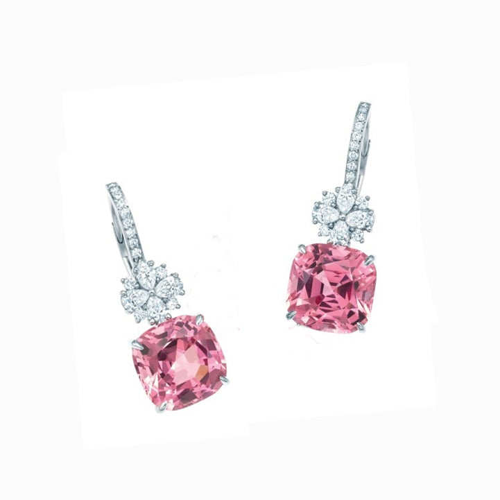 Simulated diamond and rose colour gemstone dangler earrings, Earrings - Ratnali Jewels