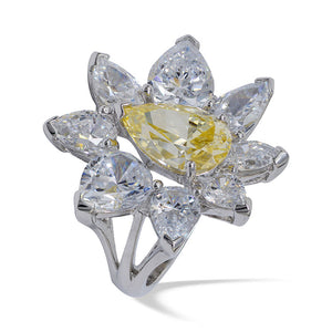 Simulated diamond & citrine gem stone Ring, Rings - Ratnalij_jewels