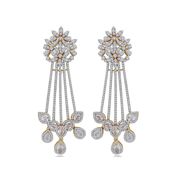 Simulated diamond chandelier earrings, Earrings - Ratnali Jewels