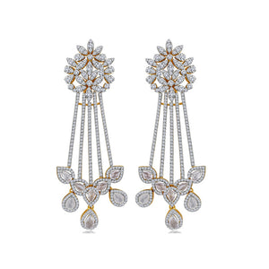 Simulated diamond chandelier earrings, Earrings - Ratnalij_jewels