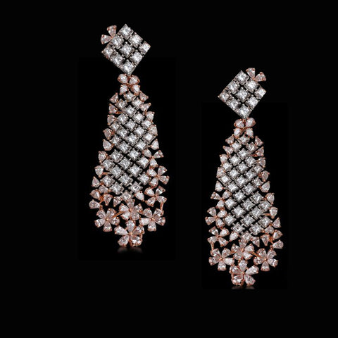 Simulated diamond chandelier dangler earrings, Earrings - Ratnalij_jewels