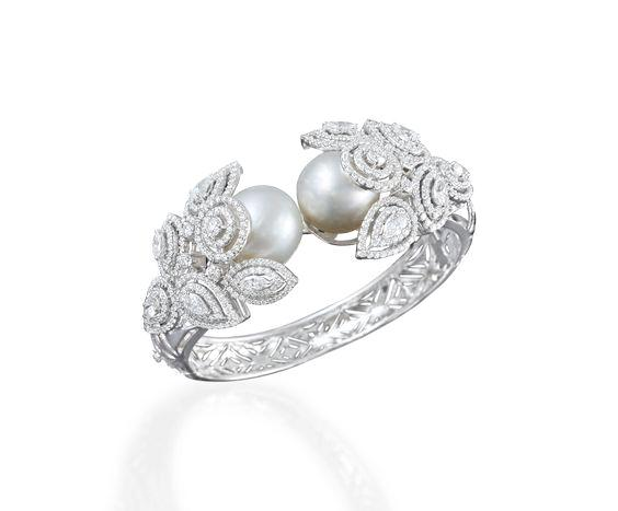 Sagar simulated CZ diamond & pearl bracelet., Bracelet - Ratnali Jewels