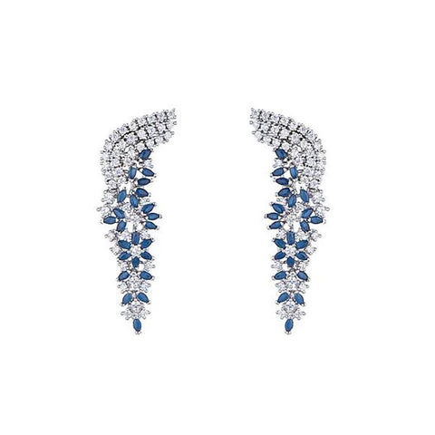 diamond look cubic zirconia and sapphire earrings
