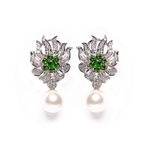 Lulit | Cultured Pearl, Emerald and Simulated Diamond Drop Earrings