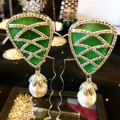 Rare simulated diamond, Jadeite & baroque pearl drop earrings, Earrings - Ratnalij_jewels