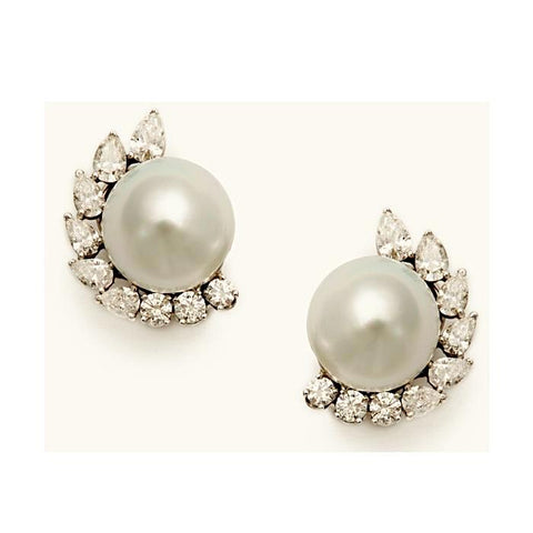 Cynthia Simulated Diamond & Pearl Stud Earrings, Studs - Ratnali Jewels