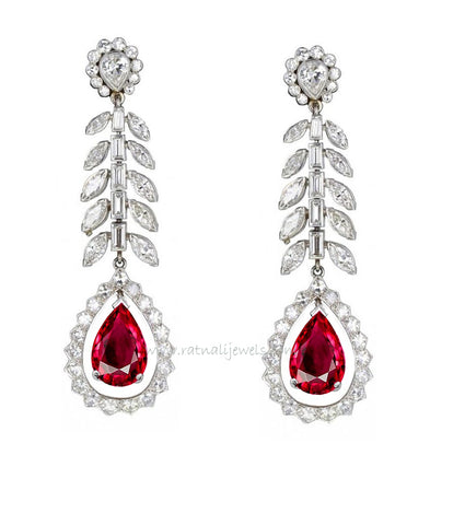 Ruby and diamond dangler earrings